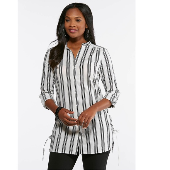 Cato Tops - Cato Vertical Stripe Tunic with Lace Up Sides